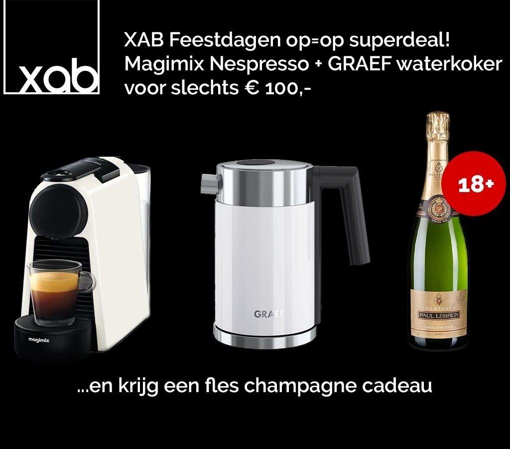 Graef Waterkoker wit + Koffiemachine + gratis Champagne